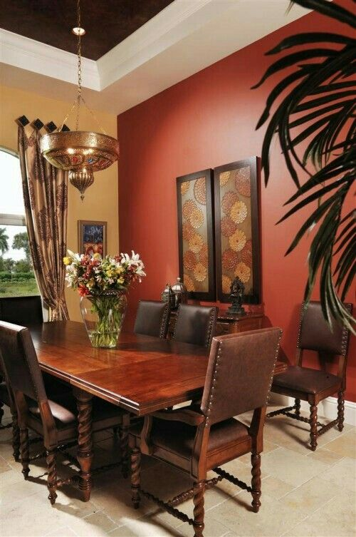 I love the paint used in this dining room!