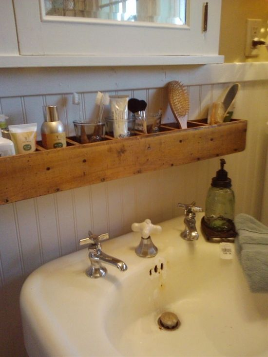 cd tower turned on its side, bathroom display at bachman's idea house, fall 2011, photo by alison of the polohouse blog #interior #diy #organize - Click image to find more Home Decor Pinterest pins