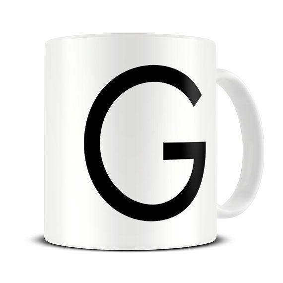 New Home Gift - Minimalist Decor - Personalised Initial Coffee Mug - Letter Mug - Alphabet Mugs - Monochrome - Housewarming Gift - MG598