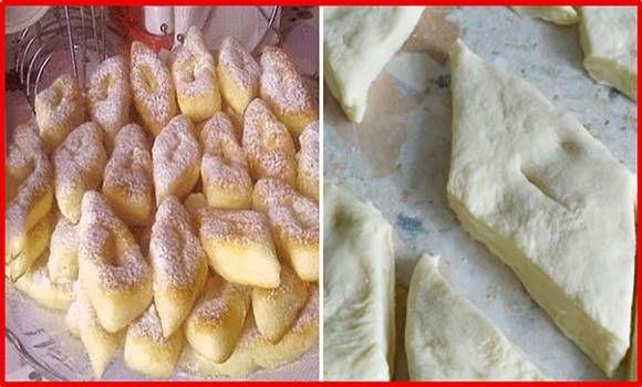 omlós csöröge                              1 csésze joghurt  0,5 csésze cukor  1-2 tojás  liszt  1 csomag sütőpor (0,5 kg liszthez)  porcukor a tetejére