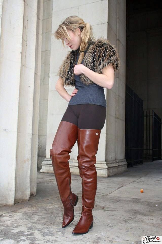 Gorgeous brown flat heel thigh boots