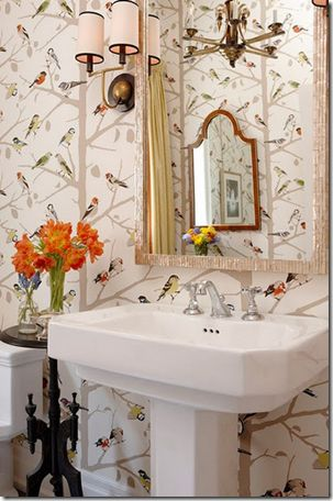 birds showing up everywherehttpswwwlelandswallpaper bird wallpaperbathroom