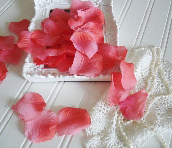 Coral Silk  Rose Petals 200 petals  Pink Wedding Decoration  2 inch Rose Petals Artifical Petals -   Flower Girl Petals // Table Scatter on Etsy, $6.50