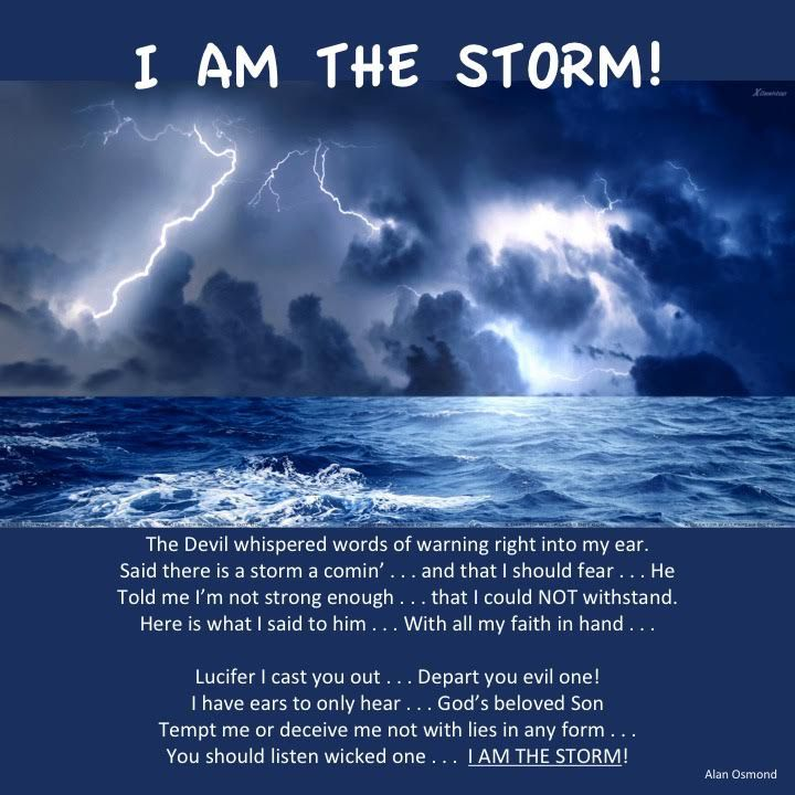 I AM THE STORM  The Devil whispered words of warning right into my ear. Said there is a storm a comin' . . . and that I should fear . . . He Told me I'm not strong enough . . . that I could NOT withstand. Here is what I said to him . . . With all my faith in hand . . . . Lucifer I cast you out . . . Depart you evil one! I have ears to only hear . . . God's beloved Son Tempt me or deceive me not with lies in any form . . You should listen wicked one . . . I AM THE STORM! . #fear #devil…