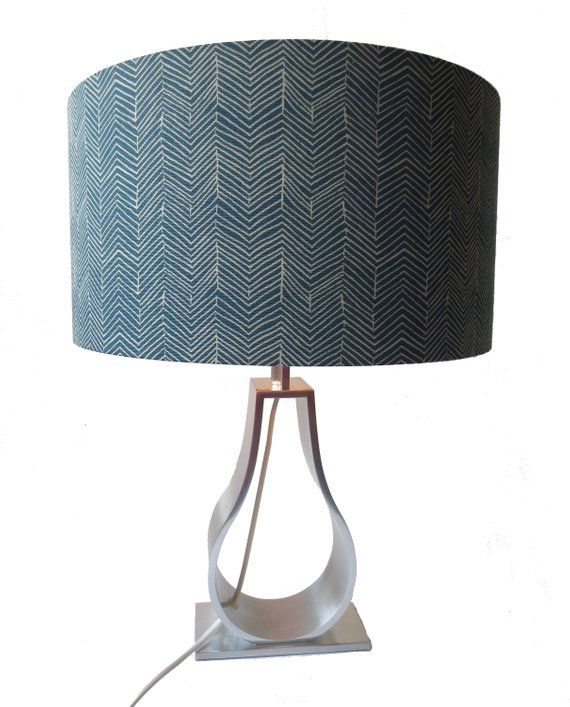 A Blue Beige Custom Made Chevron Lampshade Ikea Ildrid
