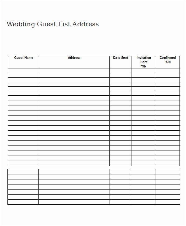 Printable Wedding Guest Lists Fresh Wedding Guest List Template 9
