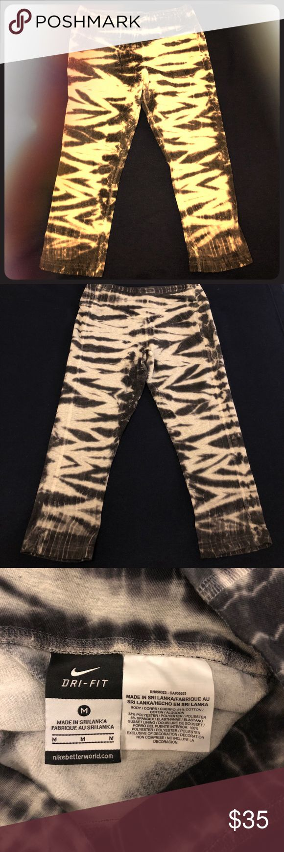 Nike dri fit women's capris M EUC Nike dri-fit women's medium capris.  Black grey tie dye.  Sexy as heck and you will get compliments.  Buy with confidence and get ready to have yourself checked out 😍 Nike Pants Capris