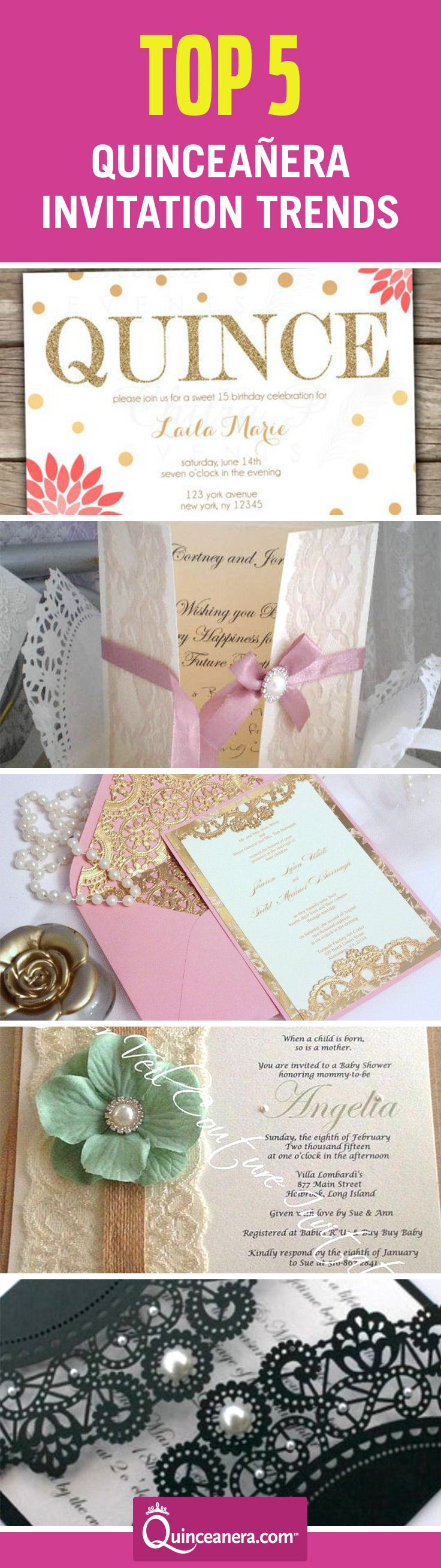 Here are the five most popular quinceañera invitation trends: - See more at: http://www.quinceanera.com/invitations/top-five-quinceanera-invitation-trends/?utm_source=pinterest&utm_medium=social&utm_campaign=article-122215-invitations-top-five-quinceanera-invitation-trends#sthash.uJW5xOfZ.dpuf