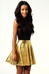 Deena Metallic Shiny Skater Skirt >> $20