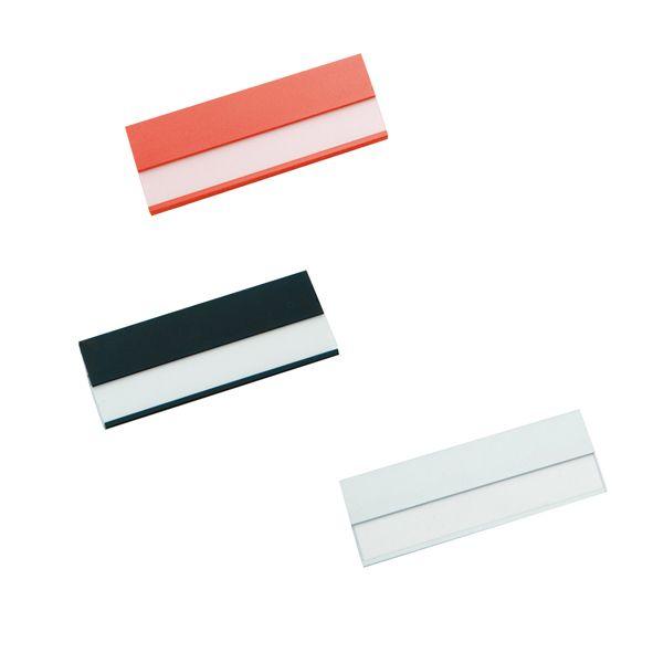"""COD.LI024  Identificador de Aluminio """"Bindel"""", con ventana para insertar nombre-cargo-empresa. Incluye clip posterior para colgar en el bolsillo y alfiler de gancho para enganchar en cualquier prenda."""