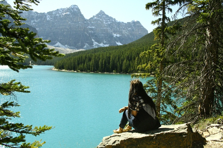 taking in the beauty of Moraine Lake