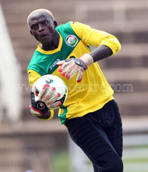 Harambee Stars goalkeeper Wilson Obungu during the training session at the Nyayo National Stadium on May 14, 2014. They face Comoros Island in the 2015 AFCON Preliminary Match on Sunday at the Nyayo Stadium. Photo/Fredrick Onyango/www.pic-centre.com