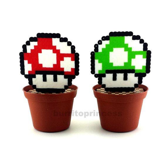 Mario Mushroom Plant - Artificial Plant - Fake Plant - Mario Mushroom Decoration - Office Plant - Desk Plant - Mario Planter - Mario Wedding