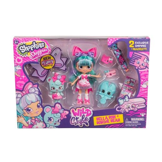 This season it's time to discover your WILD STYLE! Season 9 introduces a new addition to the Shopkins' World - Shoppets! Shoppies new pawtastic best friends! Join in the adventure as they all discover Shoppets' world of Pawville, where life is pawsome! In Pawville, Shoppies are pampered to purr-fection as they embrace the wild stylings (fashion, beauty, lifestyle and fun!) of their new friends. <br><br>Meet Bella Bow & Bowdie Bear! Bella is one Shoppie who wins rib...