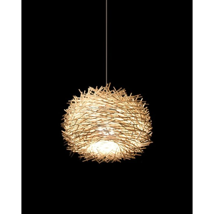 Rustic Wooden Pendant Lighting With Lifelike Bird S Nest