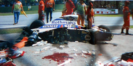 Ayrton Senna's crash. A sad day for F1, a very sad day for mankind