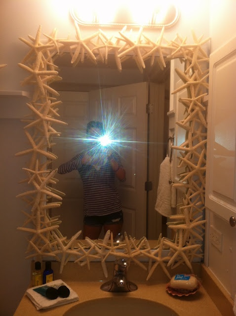 Transform an UGLY builders mirror into a GLORIOUS starfish mirror! A DIY starfish mirror tutorial :) | The Cottaged Condo