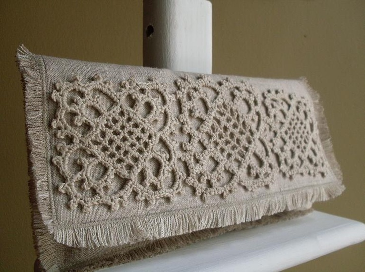 Hemp Lace Motif Linen Clutch - Unbleached, Crocheted, Shabby Chic. $70.00, via Etsy.