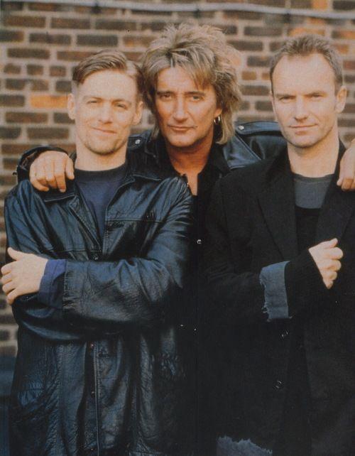 Classic rock pals... Bryan Adams, Rod Stewart and Sting.