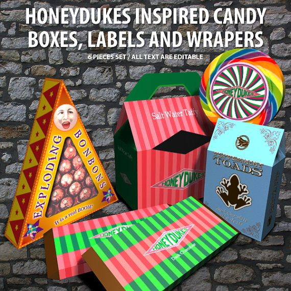 Honeydukes Candy Boxes Labels And Wrapers Harry Potter
