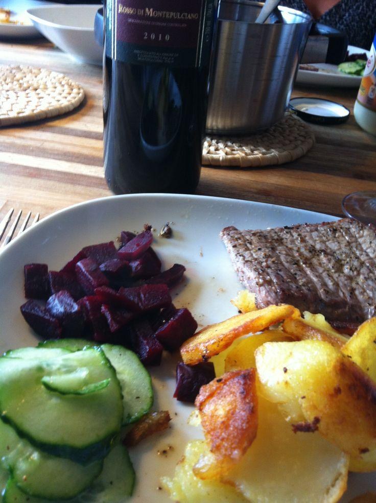 Meat veg en een heerlijke Rosso di Montepulciano
