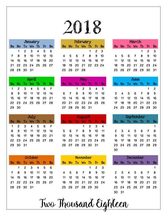 at a glance calendar 2018 where pictures were taken printable