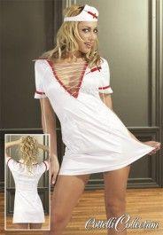 """#ABITO DA #INFERMIERA #SEXY CON CAPPELLINO Mini abito da infermiera sexy con cappellino! Splendido vestitino bianco con decorazioni rosse, profonda scollatura a V con laccetti di chiusura. Due taschini sulla parte frontale del vestitino per portarsi dietro i giusti """"attrezzi"""" del mestiere!!! Siringhe rosse cucite sul vestito e sul cappellino.  • Materiale: 100% poliestere."""