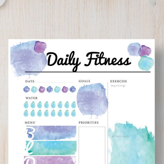 Instant Download Printable Planner - Daily Fitness Insert - Watercolor Instant Planner. A4, A5, Letter & Half sizes.  Filofax, Kiki k etc