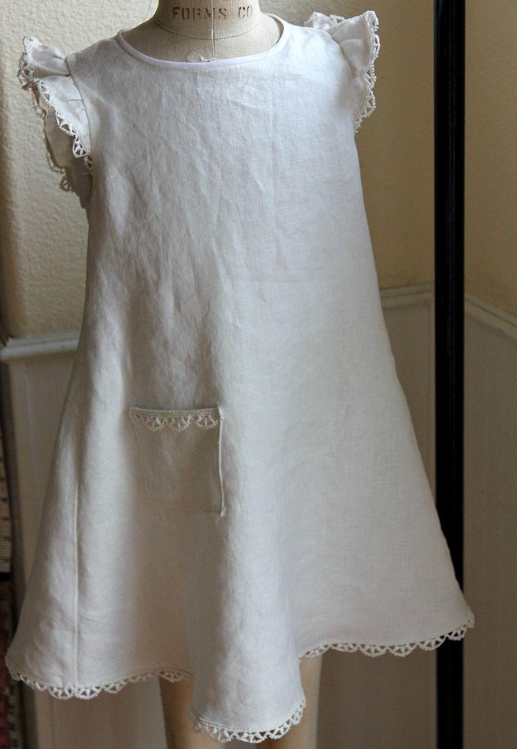 simple linen dress patterns | white linen smock from
