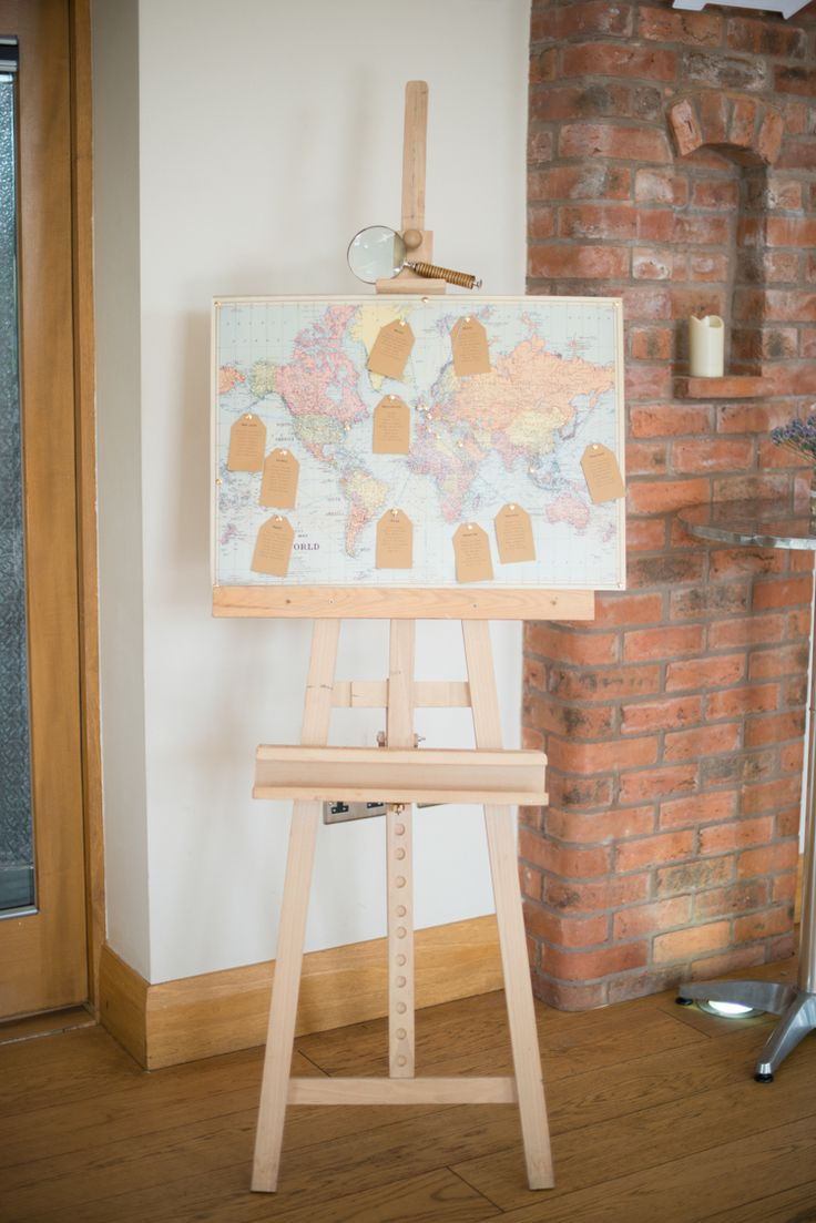 Map Travel Seating Plan Chart Table Easel Pretty Pastel Relaxed Rustic Wedding http://www.kayleighpope.co.uk/