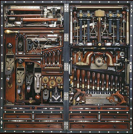 Studley tool chest - a wall hanging tool chest which holds some 300 tools in a space 40 inches/100cm by 20 inches/50cm (hand made by Henry O. Studley, a piano maker and carpenter).  The chest is made out of off cuts of mahogany, rosewood, walnut, ebony and mother of pearl. The fine craftsmanship is exhibited by the fact that each tool fits snugly into its space, often with an audible click as the tool snaps into its close-fit cavity.