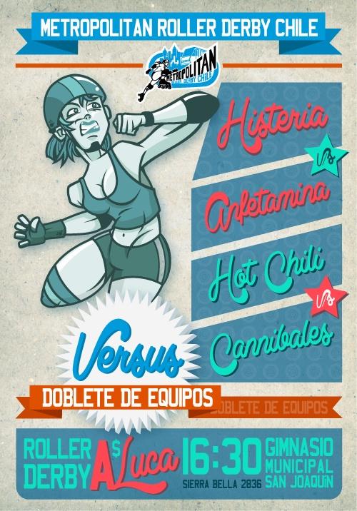 """Afiche de Versus. Modalidad de exhibición por equipos.     COMUNICACIONES MRDC  Ilustración: Sheshokein.  Gráfica: """"Talibana"""" Olguín"""