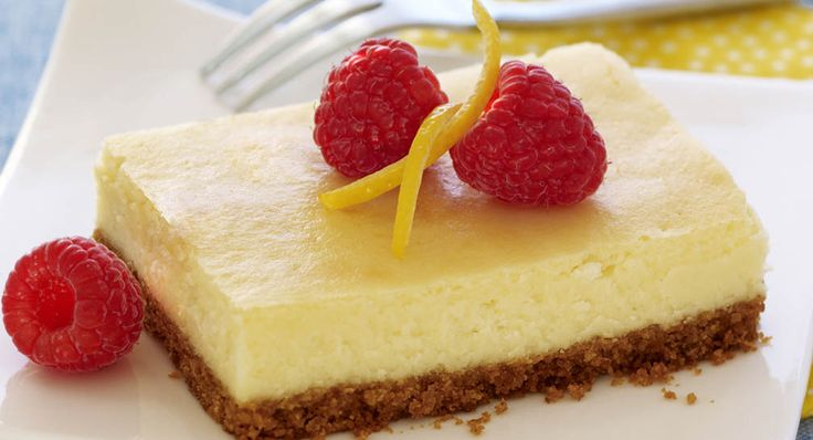 Lemon Cheesecake Bars-- No springform pan needed for this cheesecake recipe – just use your 13x9-inch pan. For a very special garnish, top cheesecake with Berry Topping.