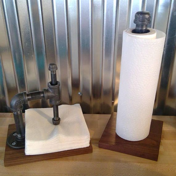 Pipe napkin holder, Walnut napkin holder, steampunk napkin holder, urban industrial napkin holder
