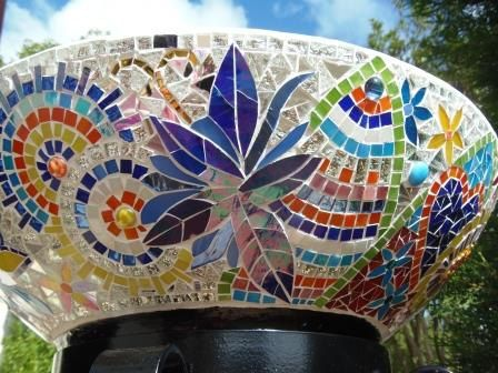 Mosaic Plant Stand or Ice Bowl Bucket for outdoor Party|1m Tall using leadlight…