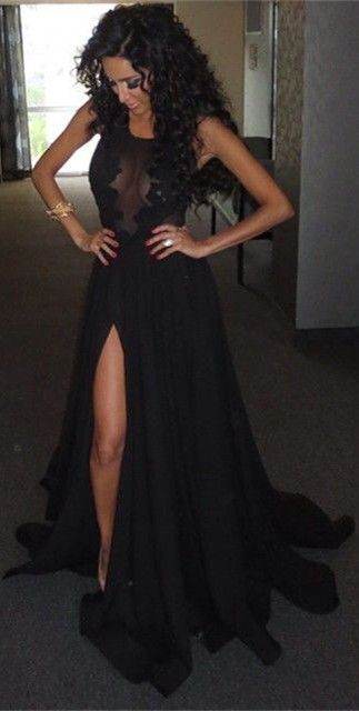 Do you want wear this sexy black long prom dress to win the prom queen? Follow me on Pinterest @1010ale