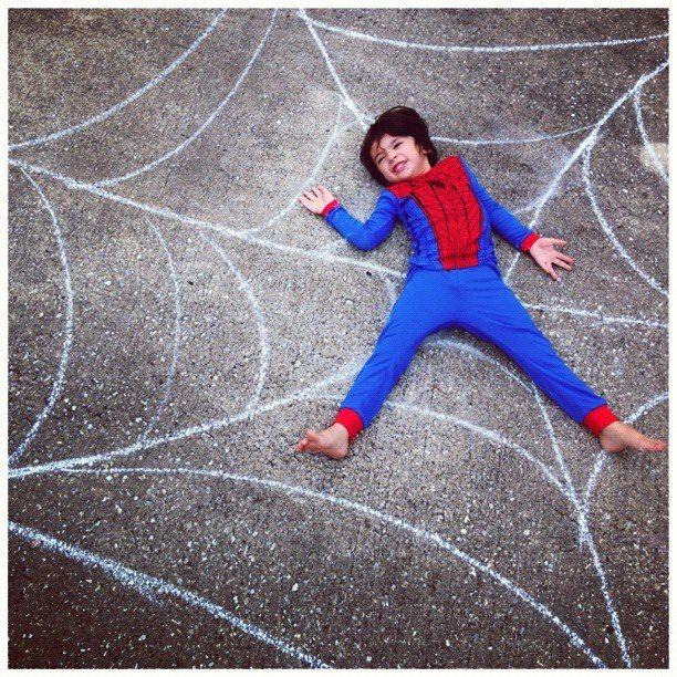 Sidewalk chalk and the cutest spiderman ever! ♥