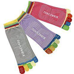 3 coppie miste colori 5 dita Anti slittamento forte Grip Fitness Yoga Pilates calzini (Rose viola grigio)