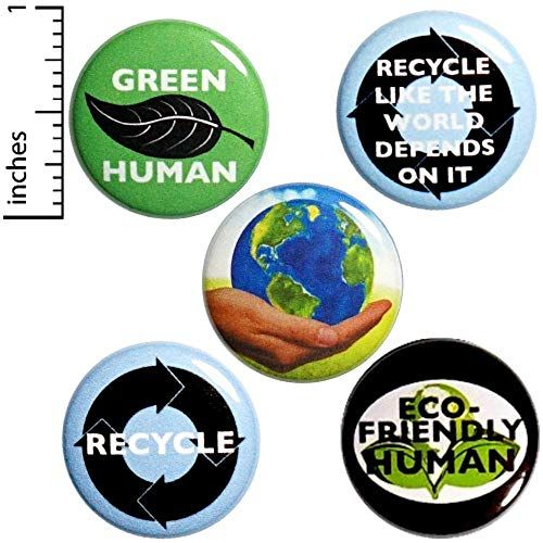 Recycling Button 5 Pack Green Human Eco-Friendly Backpack