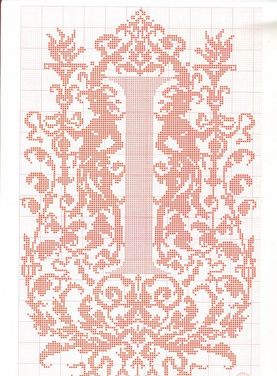 """cross stitch alphabet in 2 colors- very ornate monogram 26 single letters -- """"I'"""" #9"""