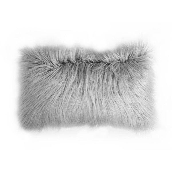 Faux Mongolian Pillow Rectangle Grey ($29) ❤ liked on Polyvore featuring home, home decor, throw pillows, bohemian home decor, boho throw pillows, gray accent pillows, textured throw pillows and grey accent pillows