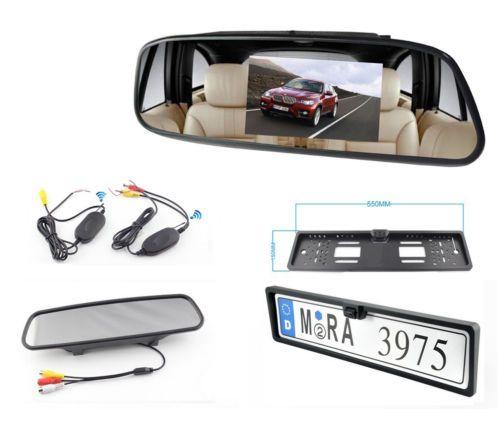 KIT-SANS-FIL-Camera-de-recul-plaque-retroviseur-ecran-LCD-4-3-034-Voiture-camping