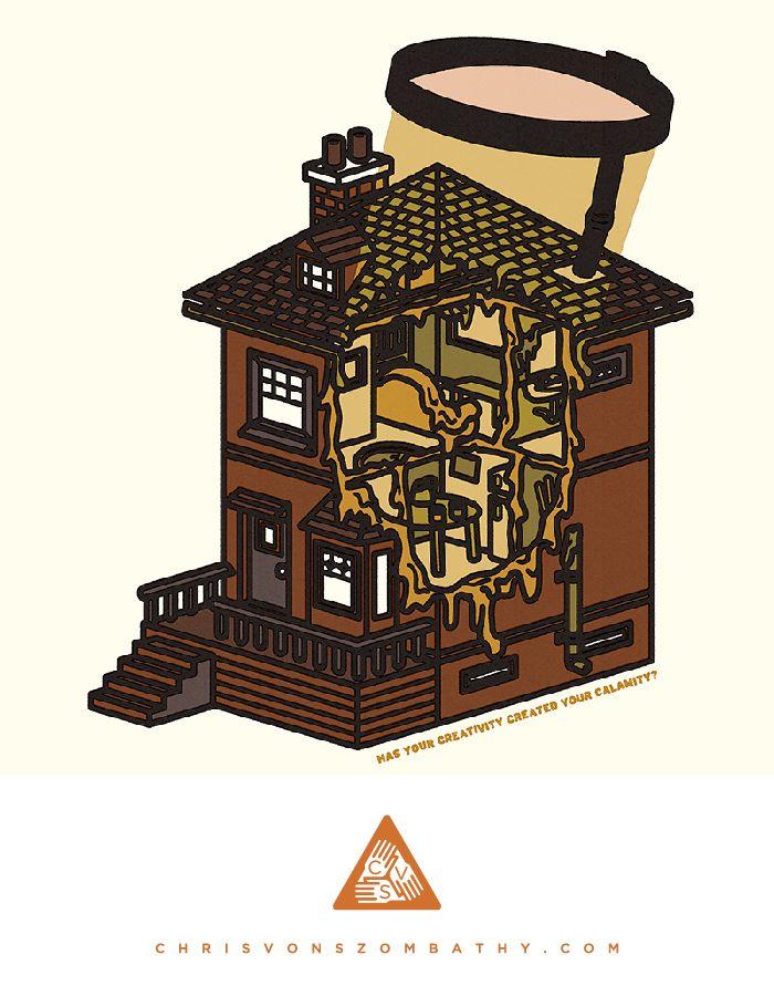 Has Your Creativity Created Your Calamity?, an illustration by artist/designer Chris von Szombathy.