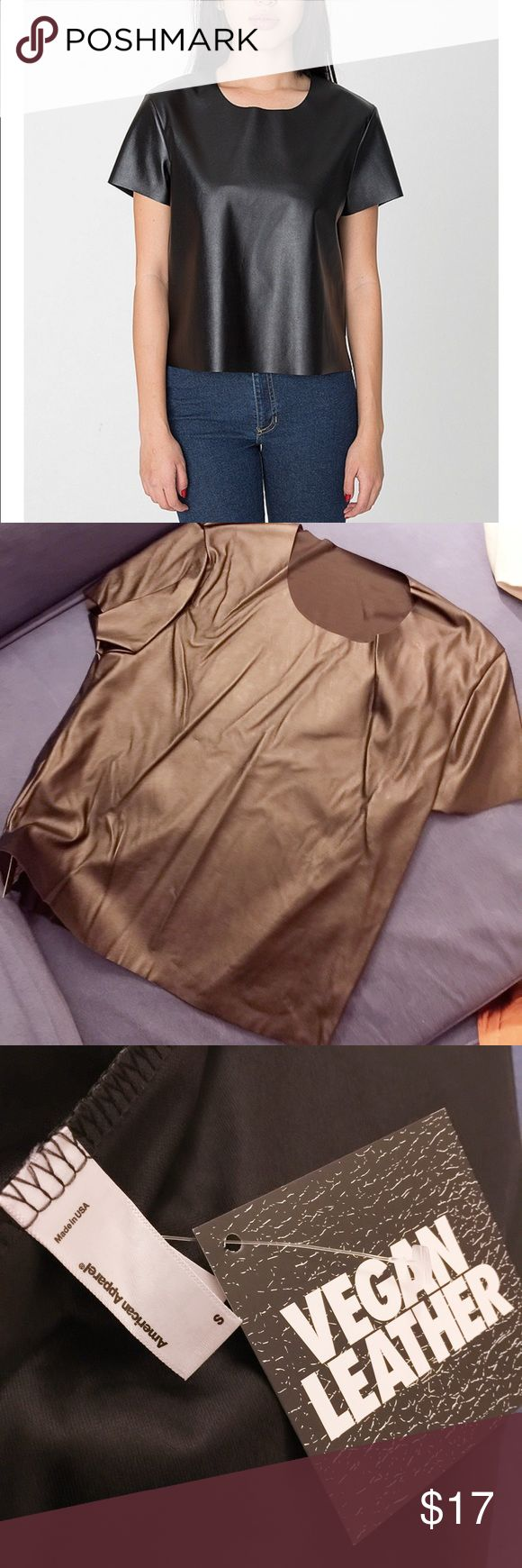 American Apparel vegan leather T-Shirt Brand new, never worn. Size: S. Color: Black. American Apparel Tops