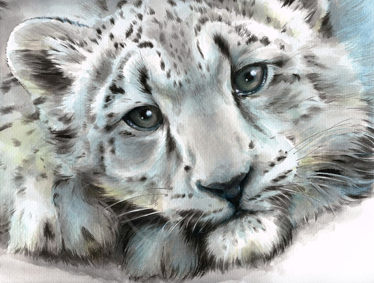 Young Heart 183 Snow Leopard Baby Painting By Karin Russer
