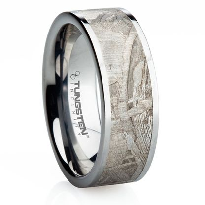 8 mm unique mens wedding bands in titanium with meteorite inlay wedding ring
