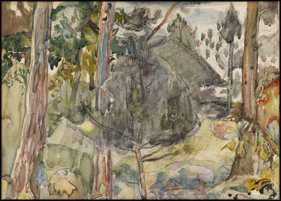 Frederick Horsman Varley - Woods in Autumn, Near Aylmer, Quebec 9.75 x 13.5 watercolour on paper circa 1940