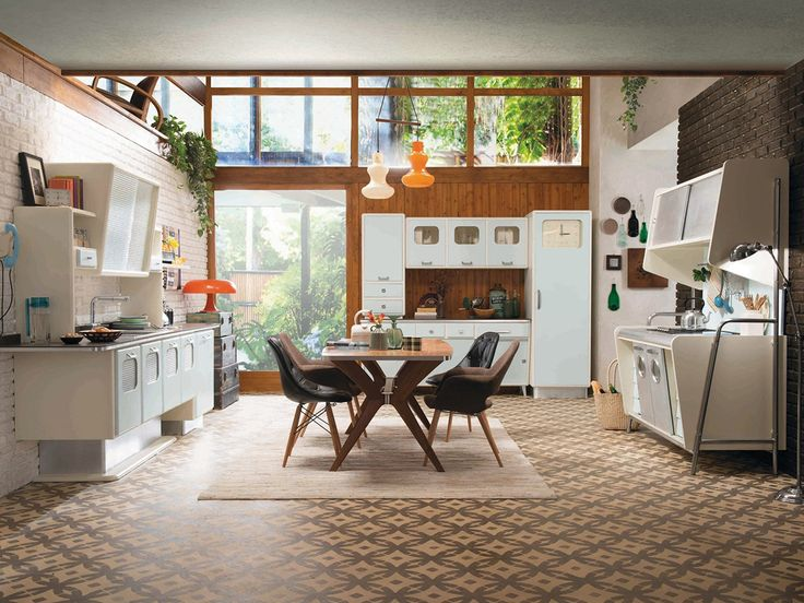 From Marchi Cucine of Italy comes this stunning retro-look kitchen, dubbed St. Louis, and new for 2014. Isn't it just peachy-keen? Made of lacquered woods, this kitchen stands up...