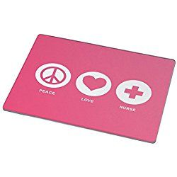 Rikki Knight Peace Love Nurse Tropical Pink Color Large Glass Cutting Board