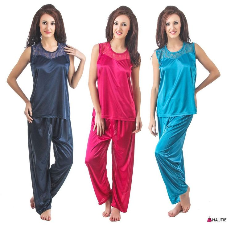 HAUTIE LADIES PYJAMA SET WOMENS SATIN PJS SLEEVELESS NIGHT WEAR VEST TOP in Clothes, Shoes & Accessories, Women's Clothing, Lingerie & Nightwear | eBay